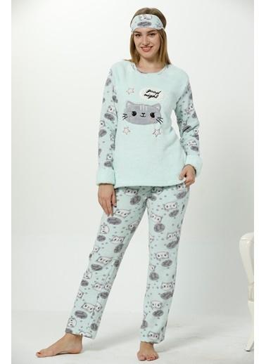 Akbeniz Welsoft Kadın Pijama Takım Yeşil